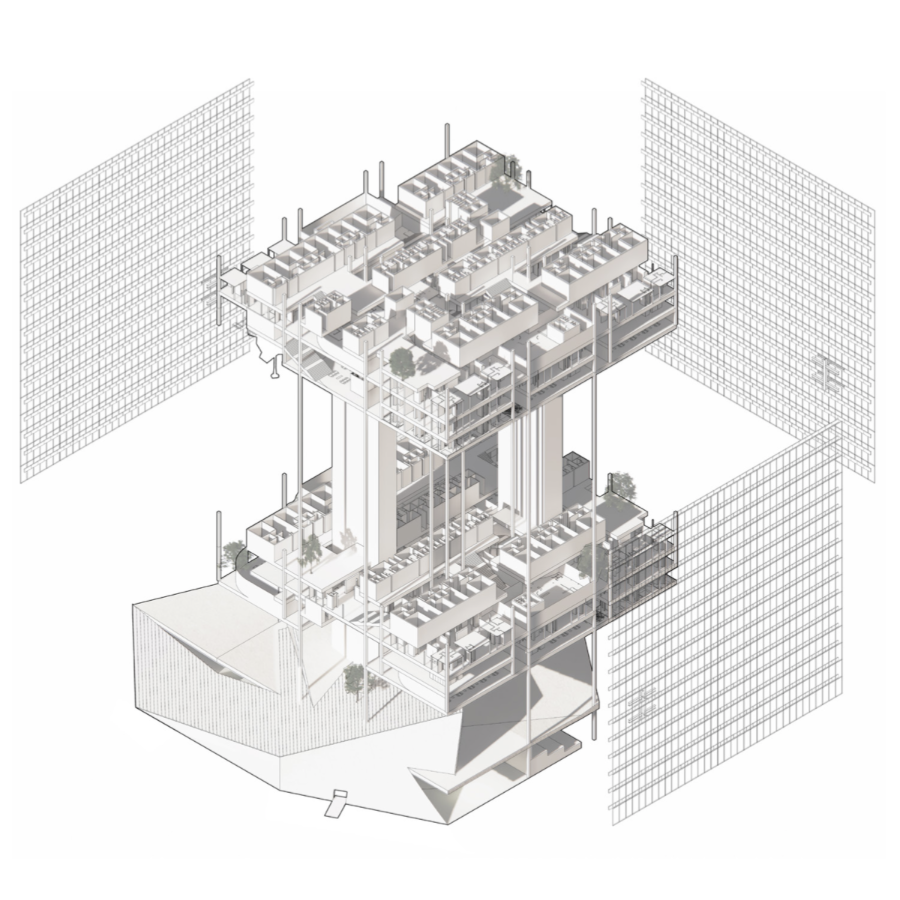 A 3d computer model of an architectural structure, with grid wires and parking lots.