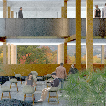 People sitting in chairs inside of a building with brown pillars and a second story.