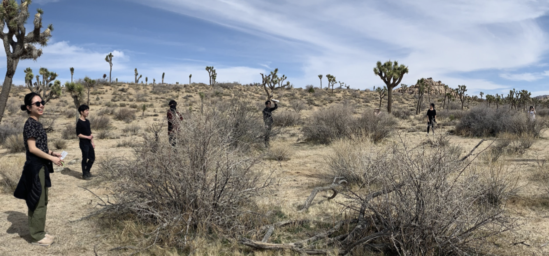 People standing in a desert with a cloudy blue sky above.