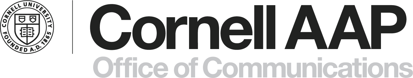 logo with university seal, Cornell AAP, and Office of Communications
