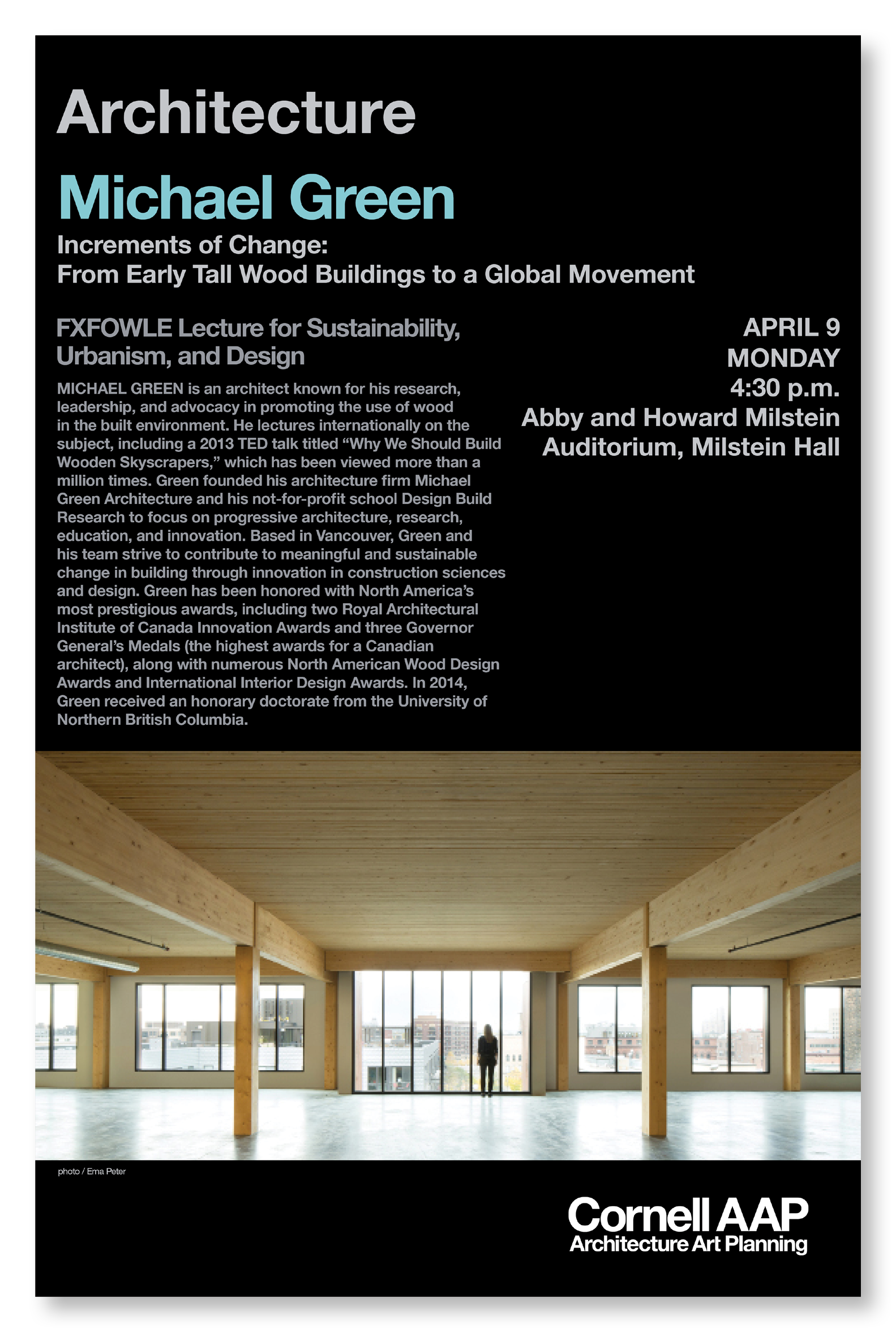 poster for an architecture lecture showing image and text usage