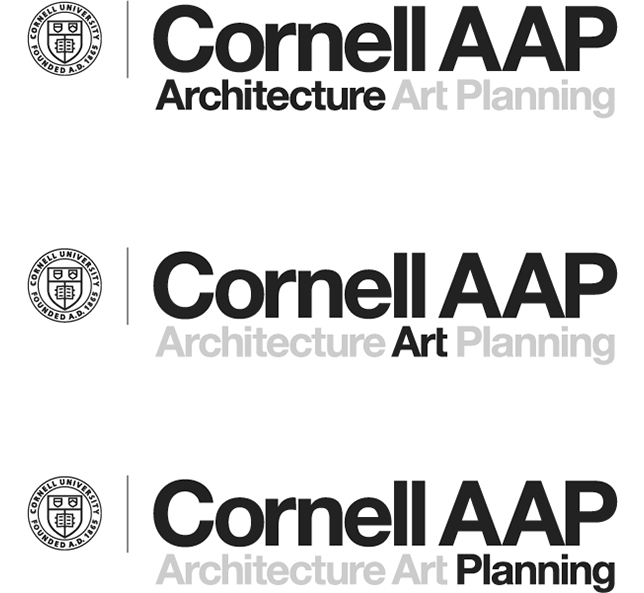 three logos with Cornell seal, Cornell AAP, and Architecture, Art, or Planning highlighted underneath