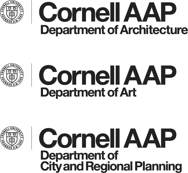 three logos with Cornell seal, Cornell AAP, and Department of Architecture, Art, or Planning underneath