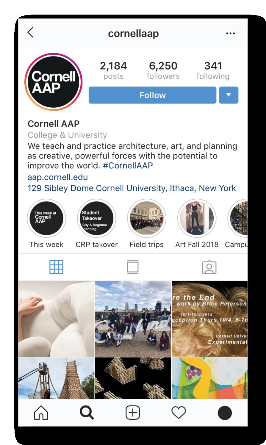 Cornell AAP's Instagram feed