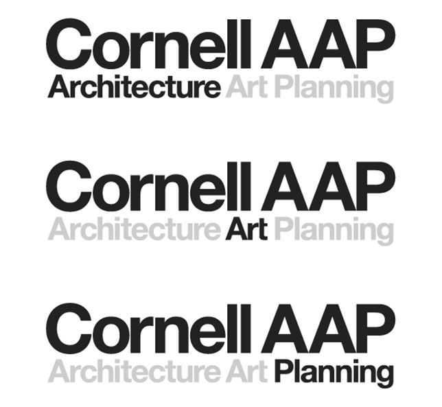 three logos Cornell AAP, and Architecture, Art, or Planning highlighted underneath