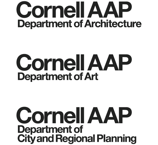 three logos with Cornell AAP, and Department of Architecture, Art, or Planning underneath