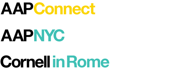 logos for AAP Connect, Cornell in Rome, and AAP NYC using a highlight color of yellow or teal