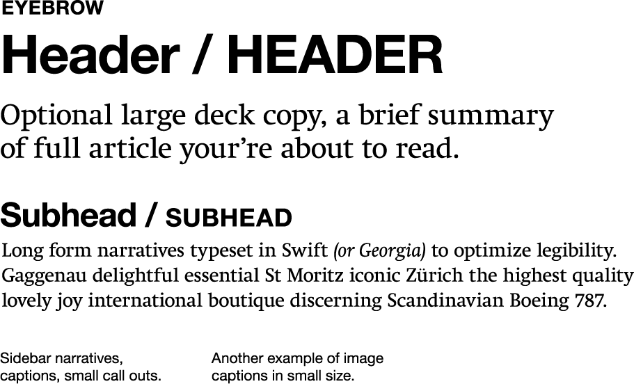 Sample of header, body, and subhead text using AAP's selected fonts