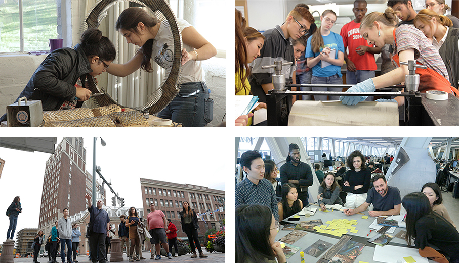 grid of four images showing students and faculty engaged in programmatic activities
