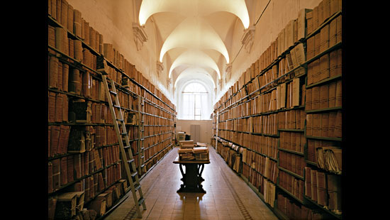 hallway library of old books