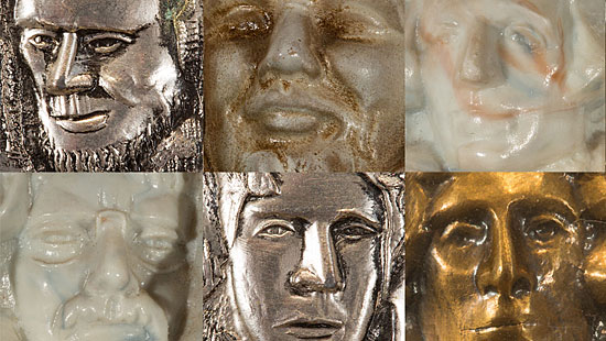 Six images of sculpted faces in different materials