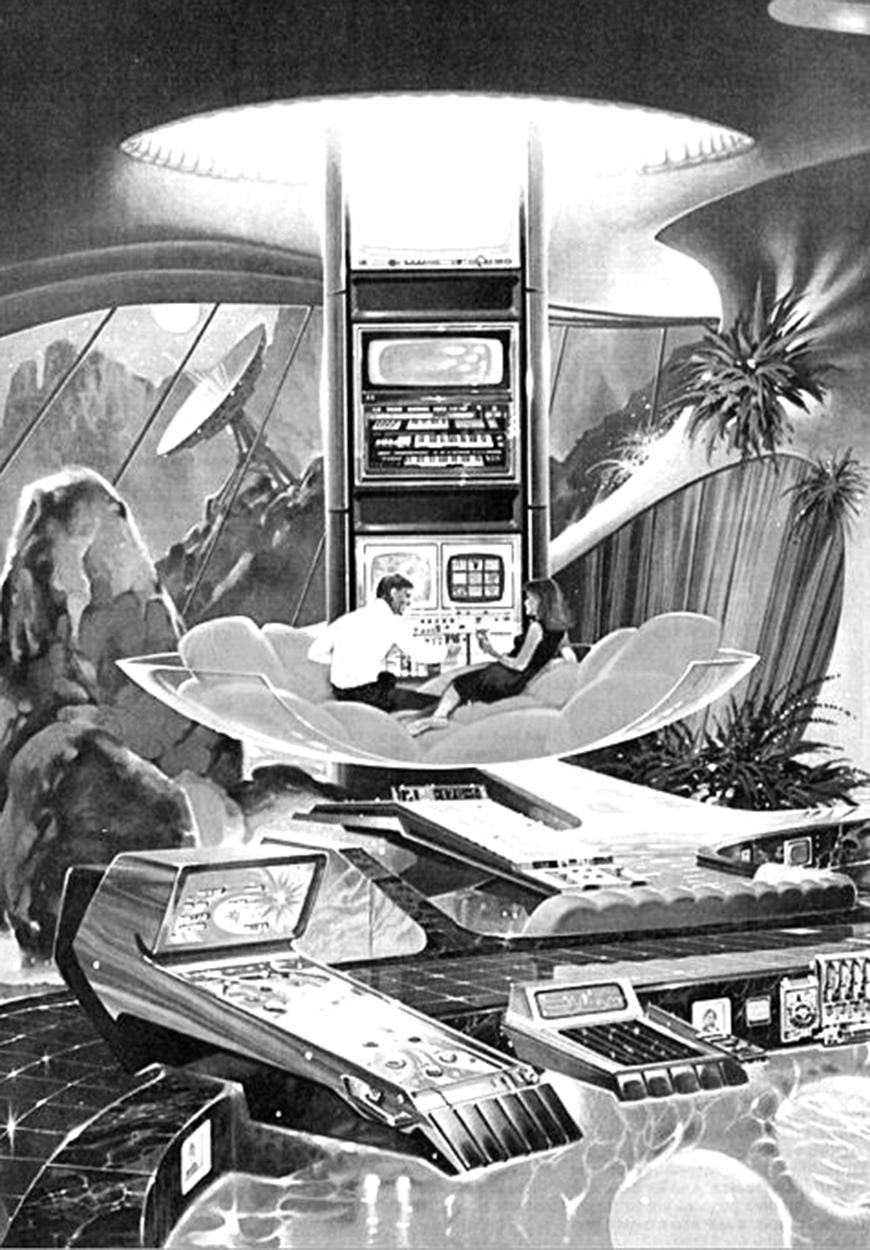sketch of a couple sitting in a space-age room with controllers and satellites