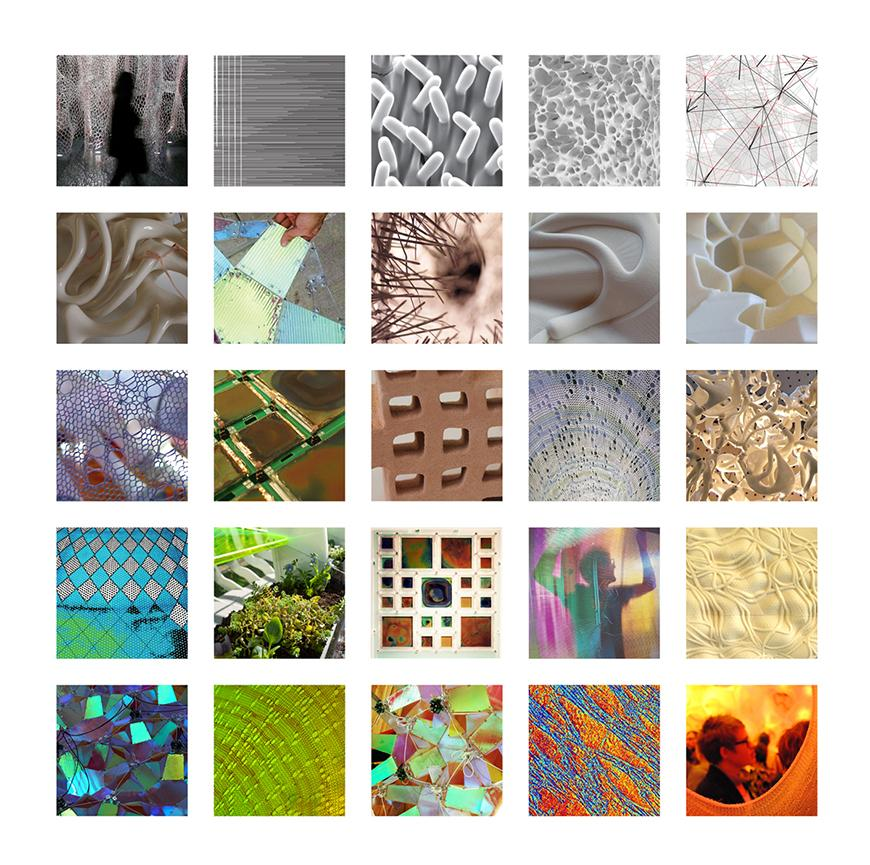 Square of 25 images of small sculptured figures, patterned fabric, and cellular structures.