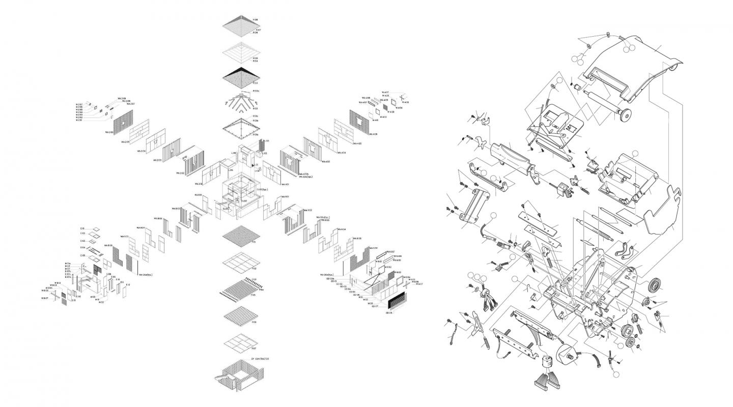 two architectural drawings in exploded views