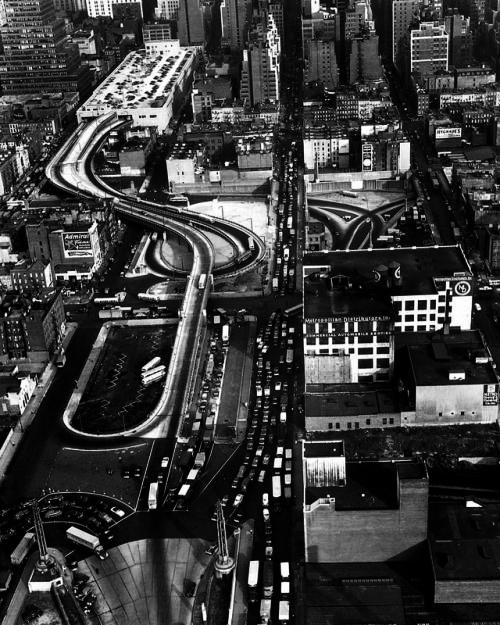 overhead view of the Port Authority Bus Terminal in New York City.