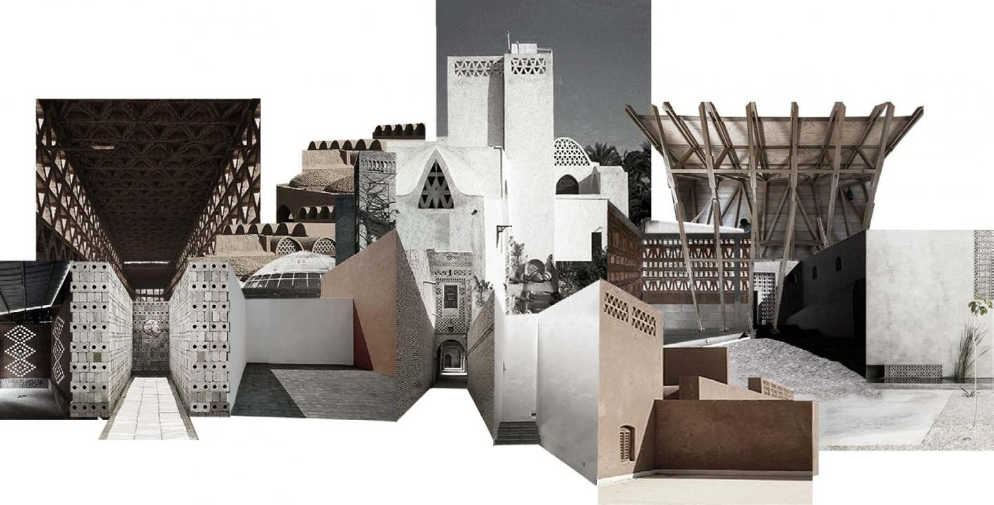 A collage of varying buildings/structures on a white background.