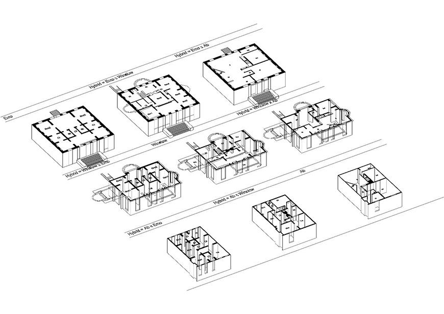 black and white schematic of a series of houses