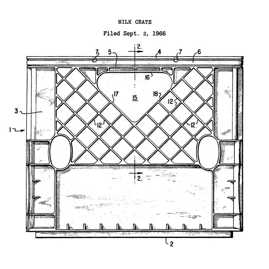 Blackand white drawing a milk crate with dimensions ntoed