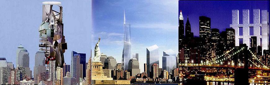 Scenes of a futuristic New York City skyline.