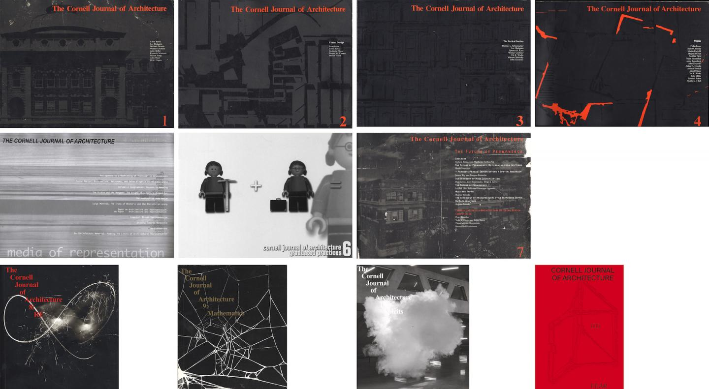 grid of eleven black-and-white book cover and red-and-white