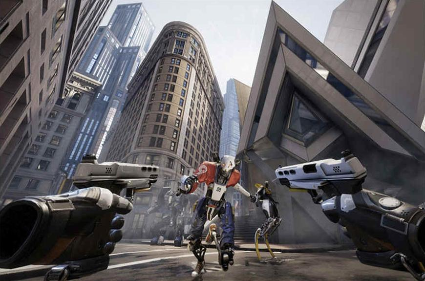 gaming screen shot showing a robot with guns aimed at it