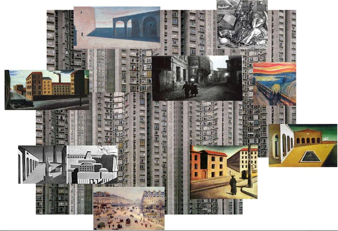 a mosaic of illustrations of low-rise and high-rise urban buildings