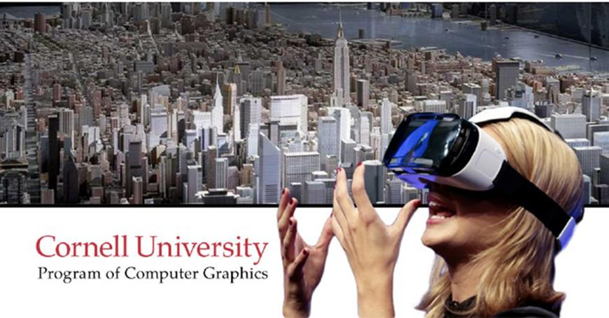 woman with VR glasses and a rendering of New York City behind her