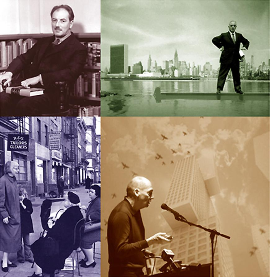 Four images including Rem Koolhaas, Robert Moses, Lewis Mumford, and a historic New York City street scene.