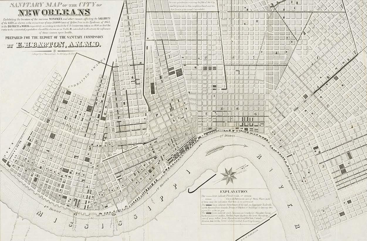 Grid of streets and locations seen from above with text