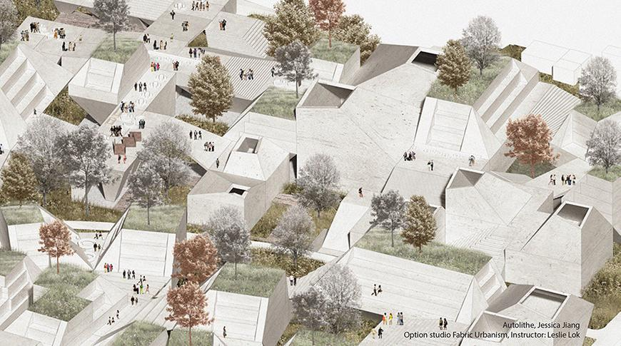 rendering of a neighborhood with different types of dwellings connected by staircases