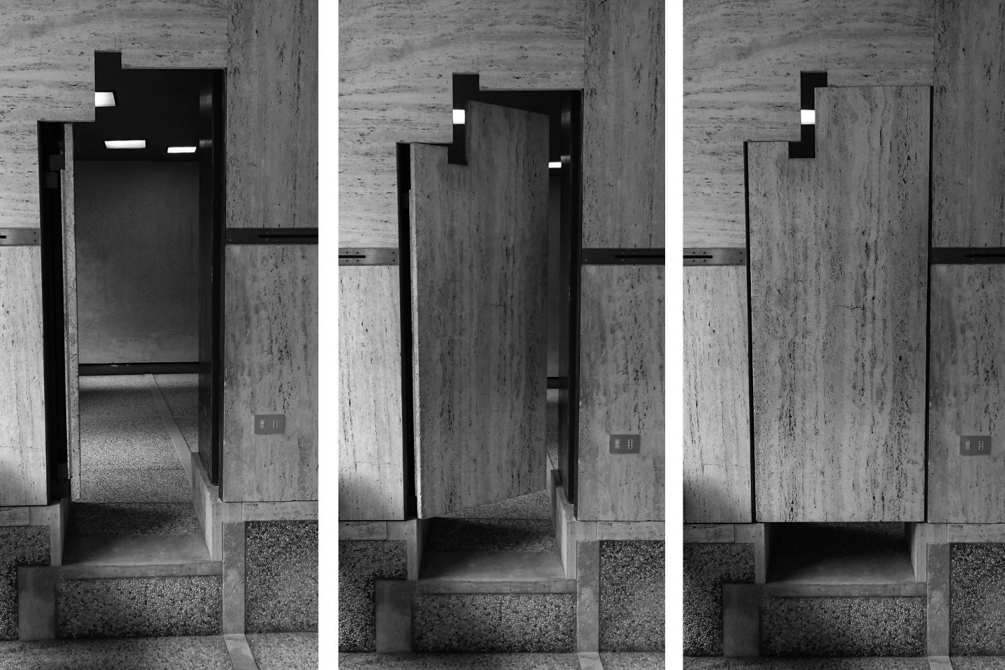 Three rectangular black-and-white images of wooden doors side-by-side.