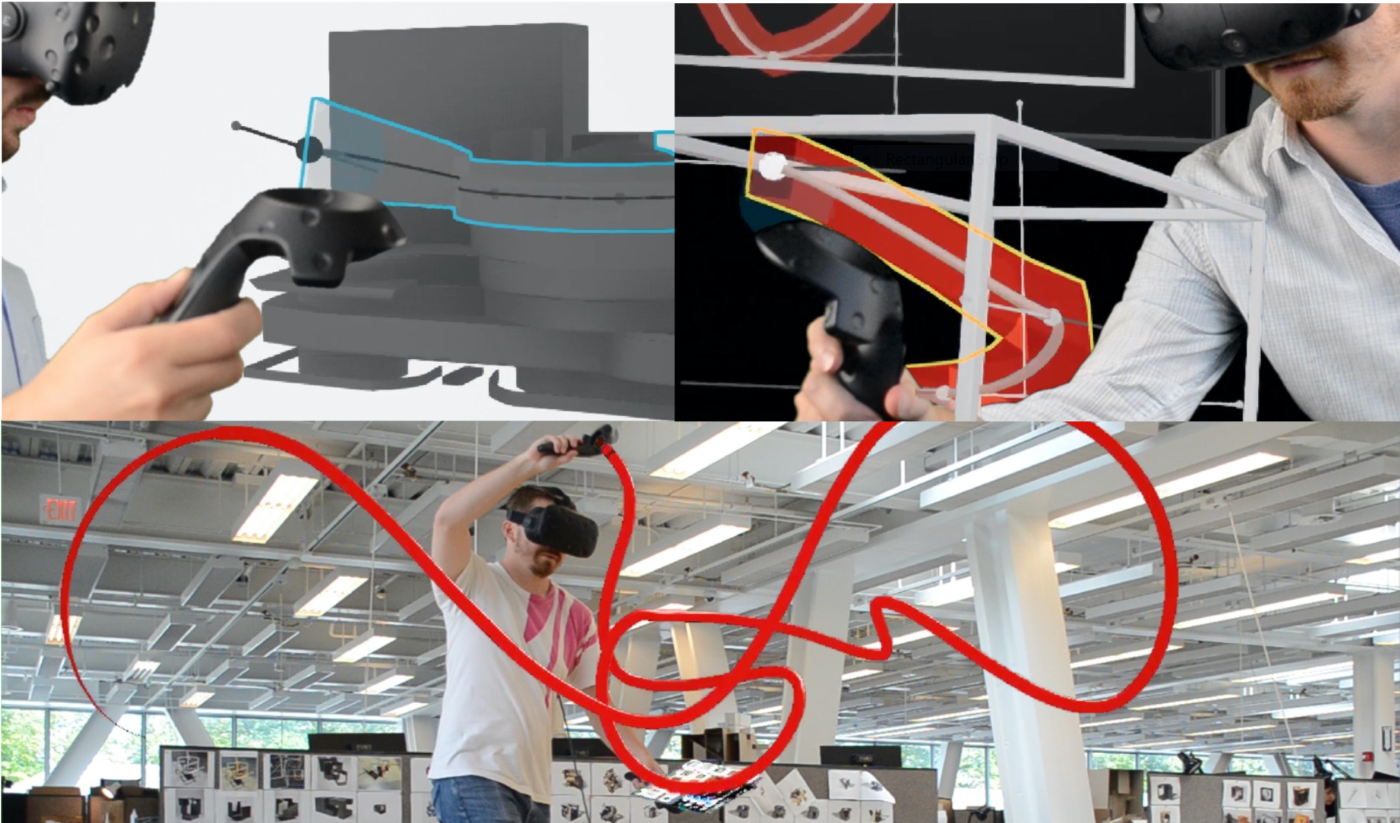 3 photos of a man in virtual reality goggles with a red line superimposed to match the movement of a device in his hand