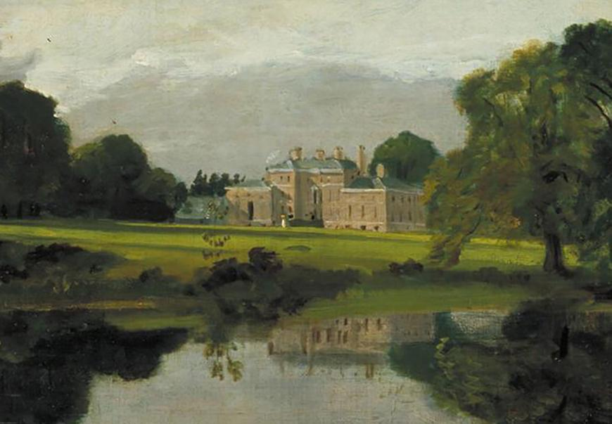 painting of an English manor house on a wide lawn with a lake in the foreground