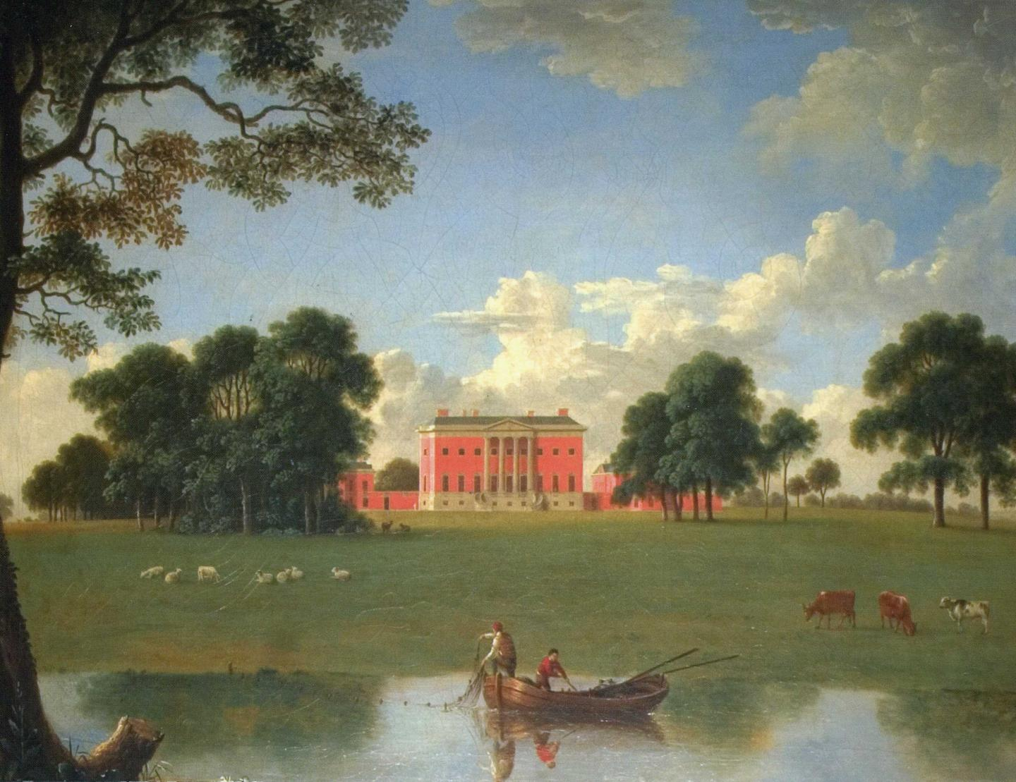 Two people fishing from a floating boat, cows and sheep grazing in a field, a red building and trees, and clouds in a blue sky.
