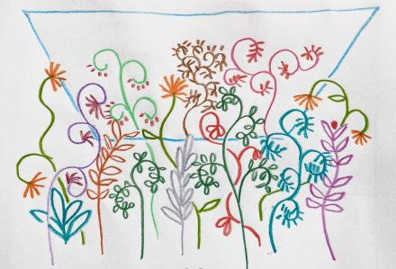 Brightly colored flowers drawn with colored pencils on white paper.
