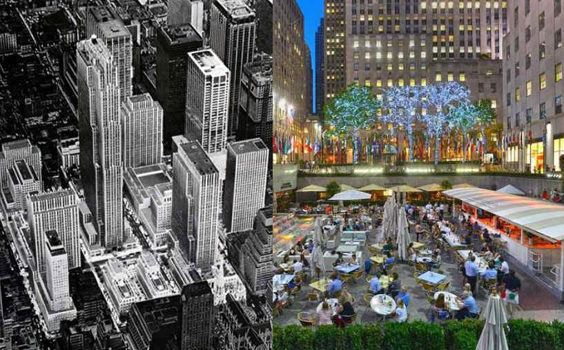 an overhead view of Rockefeller Center on the left, a scene of street dining on the right