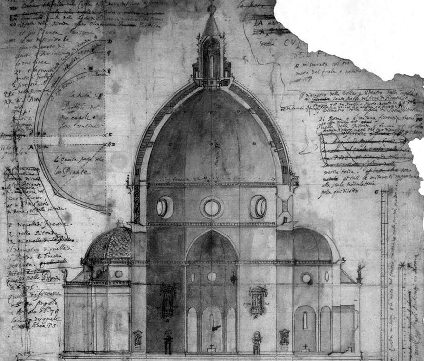 sketch of a dome with old paper with handwriting and drawing on it