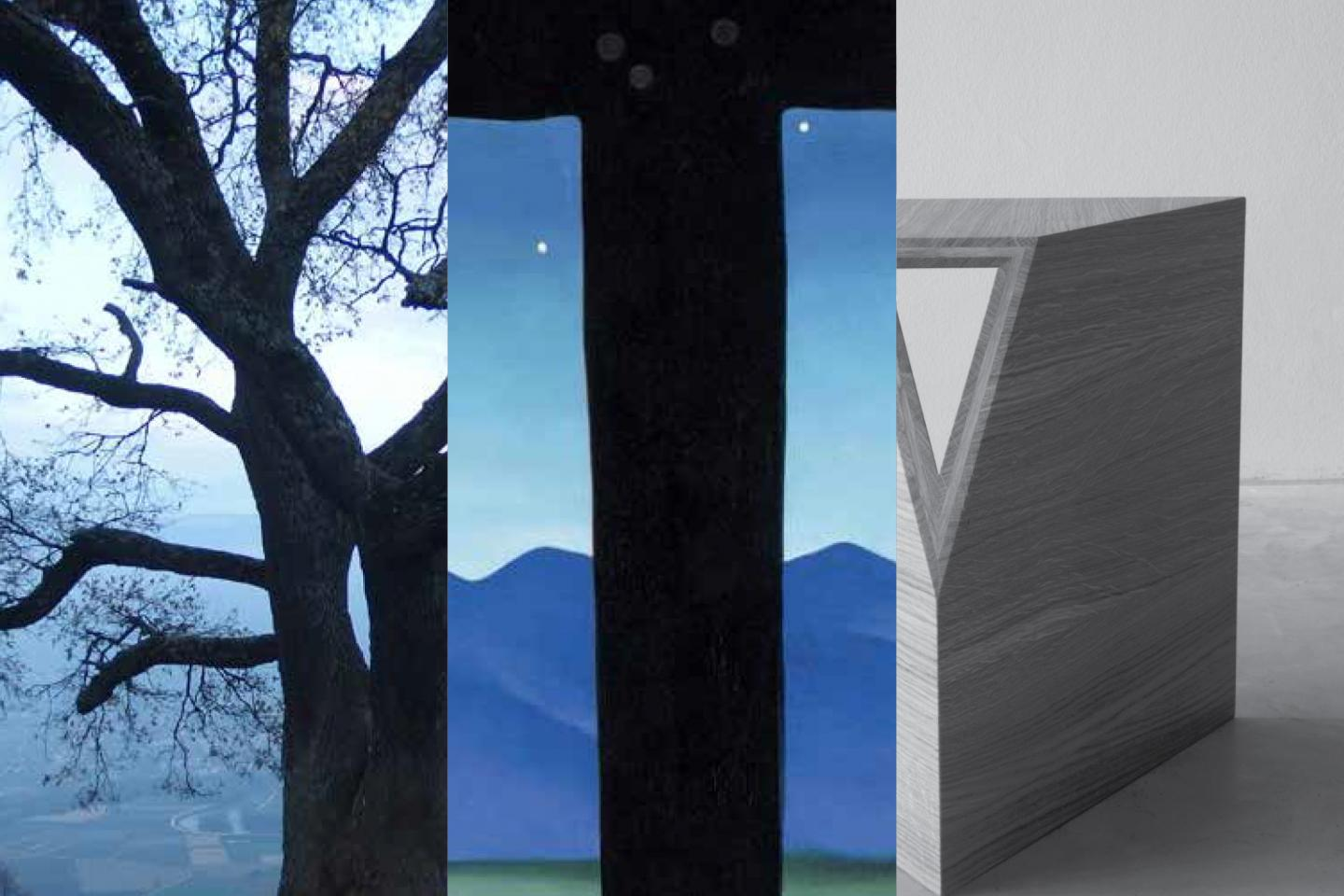 a tree, a mountain skyline with stars, and the corner of a concrete block in shades of blue, gray, and white