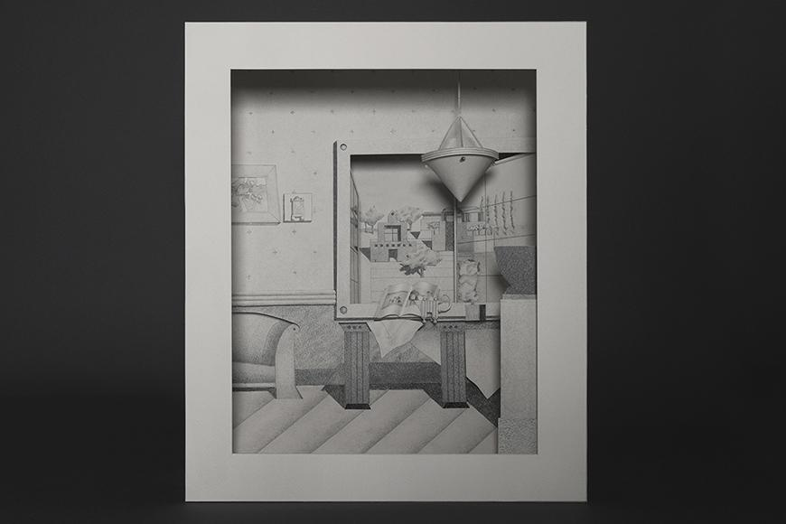 Graphite drawing on a paper model.
