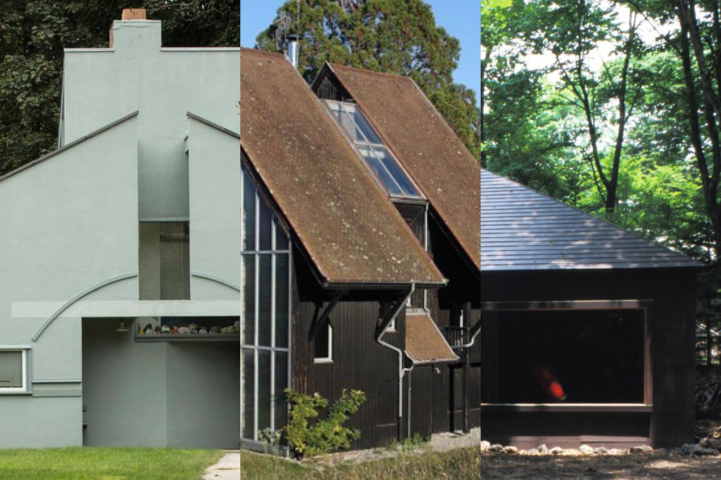 Sections of three post-modern houses side by side