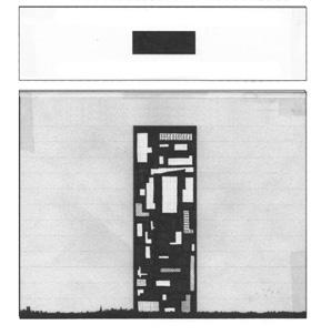 black and white geometric figure with a black rectangle in a white box above it