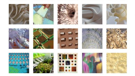 grid of 25 squares containing colorful geometric shapes