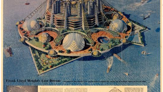 colored drawing of a futuristic building on an island in a body of water with inset descriptive text