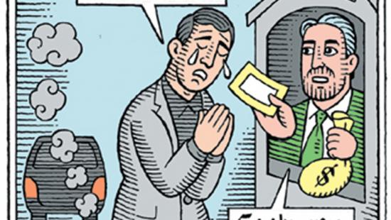 cartoon depicting a man confessing to driving an SUV