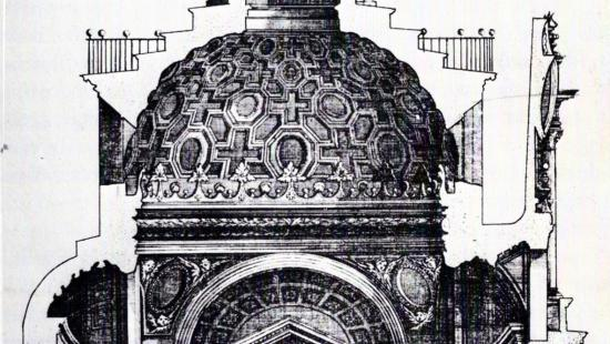 antique drawing of a domed building