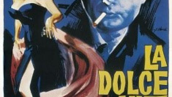 black, blue and accent colors represent a woman in an evening gown and a man smoking a cigarette, with text