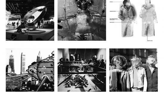 Six images of robots and cyborgs from old movies