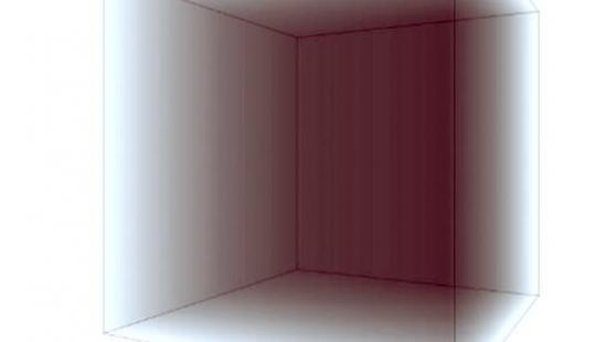 A gray cube that is transparent on two sides.