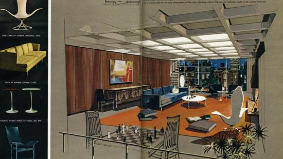 50s-style drawing of a living room setting looking out over a city with details about the furniture on the right
