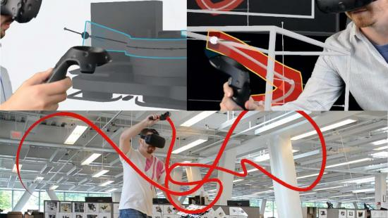montage of 3 images of a man using 3D goggles and a virtual reality hand-held device